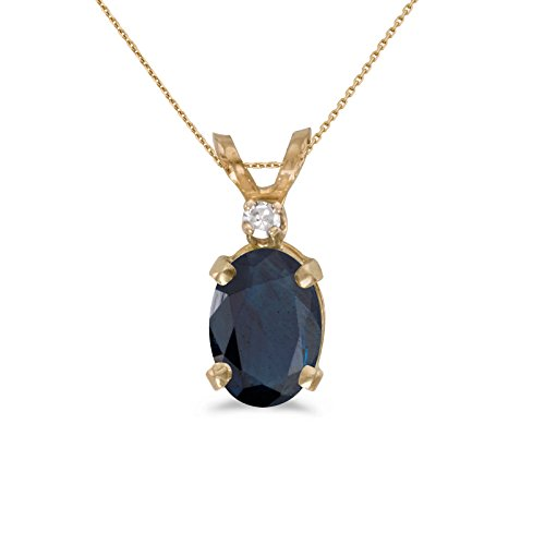 (14k Yellow Gold Oval Sapphire And Diamond Pendant with 18