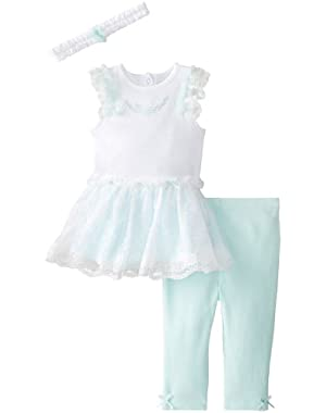 Baby-Girls Newborn Ombre Dress and Legging Set with Headband