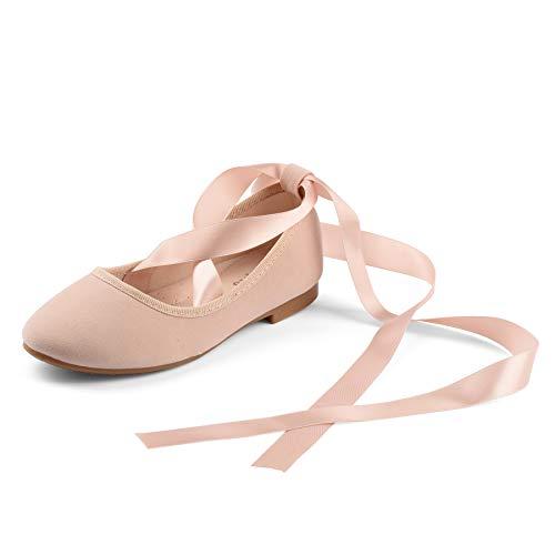 Nova Utopia Toddler Little Girls Dress Ballet Flat Shoes wth Ribbons,NF Utopia Girl NFGF315 PinkSuede - Pink Apparel Ribbon