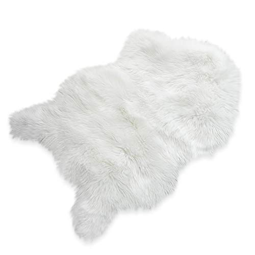 Nordmiex Faux Fur Sheepskin Rug - Deluxe Soft Faux Sheepskin Chair Cover, Seat Cushion Pad Plush Fur Area Rugs for Bedroom Sofa Floor, 2ft x 3ft(White ()