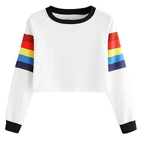 Kulywon women long sleeve blouse Fashion Women Long Sleeve Colorful Rainbow Print Tops O-Neck Sweatshirt Blouse(S,White)
