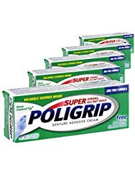- (5 Pack) Super Poligrip Denture Adhesive Cream - Strong, All-Day Hold - Zinc Free - No Artificial Flavors or Colors - 0.75 oz. ea.