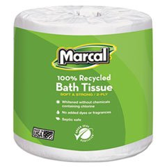 - Marcal 100% Recycled Two-Ply Embossed Toilet Tissue, White, 48 Rolls/Carton