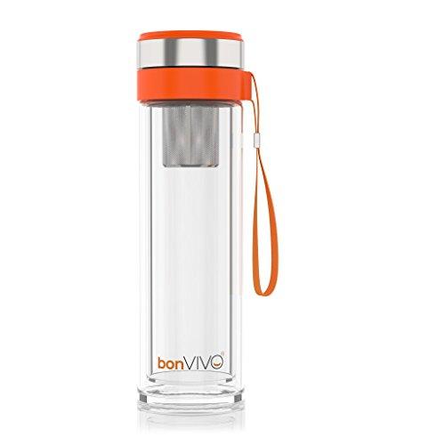 bonVIVO® VitaliTEA Insulated Glass Travel Mug with Stainles