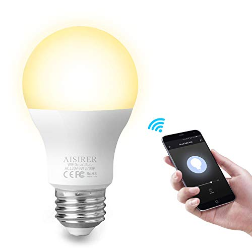 Smart Light Bulb WiFi A19 E26 LED Bulbs Compatible with Amazon Alexa Echo Google Home Assistant and IFTTT 9W Equivalent 60W Dimmable Warm Light 2700K No Hub Required 806LM AISIRER