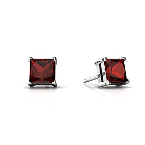 Solitaire Stud Post Earring Princess Cut Simulated Deep Red Garnet 925 Sterling Silver