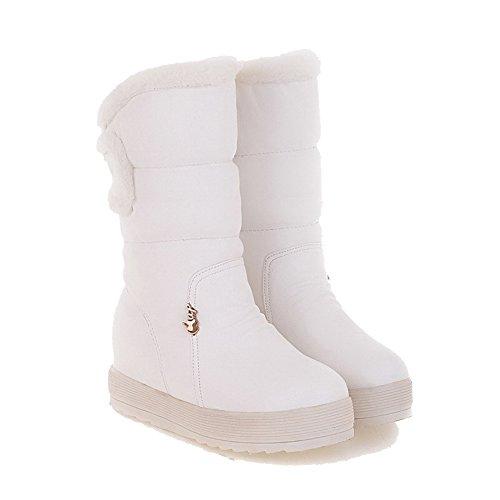 AgooLar Damen Niedriger Absatz Rein Rund Zehe Ziehen auf Stiefel Weiß