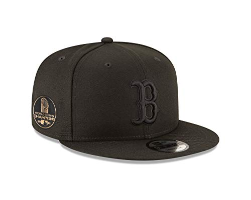 New Era Boston Red Sox 2018 World Series Champions Side Patch Black on Black Snapback Adjustable Hat (Red Hat World Series Sox)