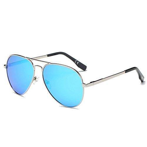 de Gafas espejo Metal marco doble amztm de Azul polarizadas Plateado sol revo aviador Hielo puente lentes wqT8BxIP