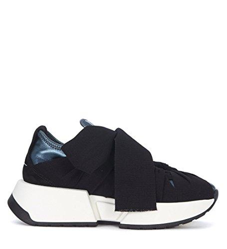 MM6 Maison Margiela Sneakers in Kunstleder Blau und Textil Schwarz Schwarz