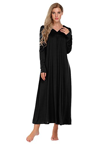 Polyester Nightgown (Ekouaer Long Sleeve Victorian Nightgown Sexy Sleepwear Maxi Dress For Women, XX-Large, Black)