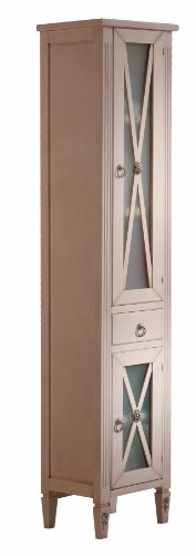 Alessandria 14-5/8-inch Wide Linen Cabinet Furniture Solid Wood, Ivory Patina, Floor Mounted, Bathroom Storage Vanity Cabinet, Made in Spain (European Brand) by Hispania bath
