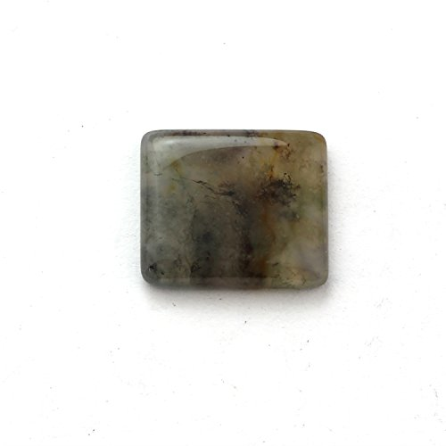 Natural Moss Agate Loose Gemstone,Octagon Shape flat bottom Semi precious cut Gemstone,Jewelry making Gemstone,17x19 mm, cabochon 16.00 Ct.A460.