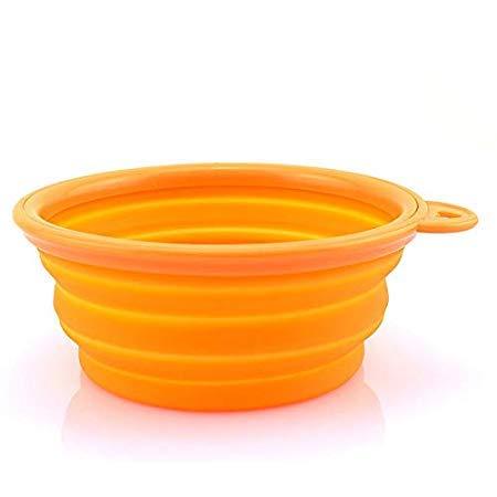 Dog Bowl - 1pcs Dog Bowl Travel Plastic Portable Collapsible Feeding Water Dish Feeder - In Utopian Slip Go Proof Outside Kramer Riser Spill Heavyweight ()
