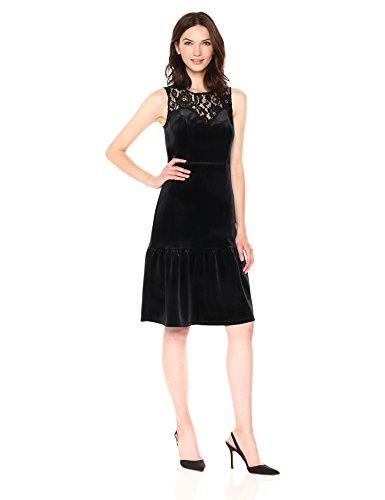 Velvet Yoke (Nanette Nanette Lepore Women's Sleeveless Velvet Dress W/Flounce Hem and Lace Yoke, Very Black, 12)