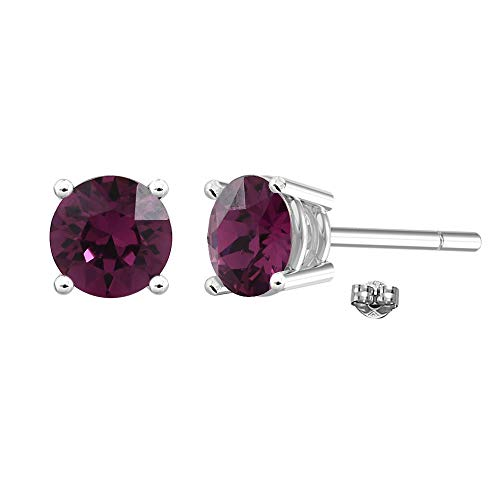 Swarovski Earrings, GLIMMERING February Birthstone Amethyst Color Swarovski Stud Earrings for Women and Girls, Swarovski Crystal Earring Studs with Certificate and Warranty, Hypoallergenic Earrings