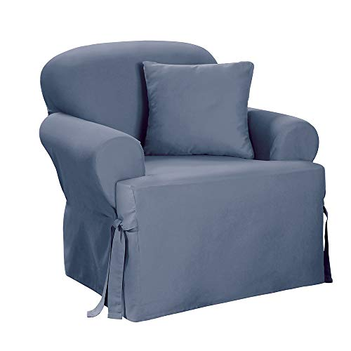 SureFit Duck Solid T-Cushion - Chair Slipcover  - Bluestone (SF33059)