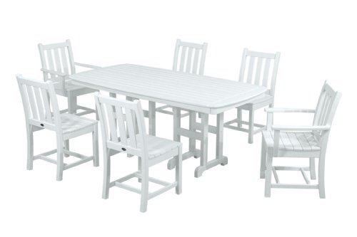 POLYWOOD PWS133-1-WH Traditional Garden 7-Piece Dining Set, White