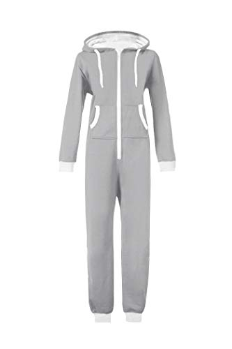 WOTOGOLD Men and Women Adult Pajamas Sportswear Hooded Unisex Jumpsuit Gray]()