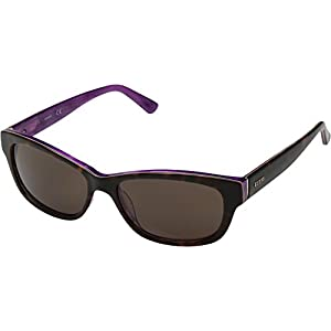 GUESS Women's Acetate Rectangle Rectangular Sunglasses, 52E, 54 mm