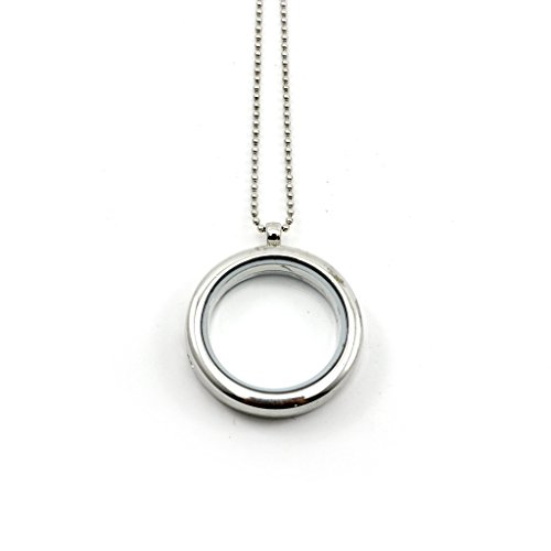 (HuntGold 1X Fashion DIY Memory Photo Picture Frame Round Locket Case Pendant Chain Necklace(Silver))