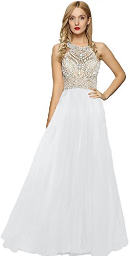 Meier Women's Long White Beaded Halter Racer Back Prom Dress Size (White Beaded Bodice)