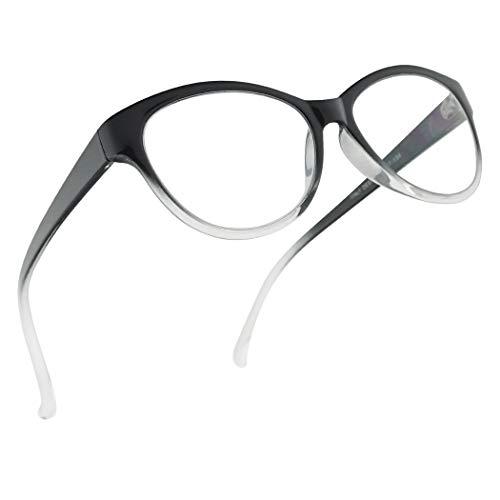SunglassUP Progressive 3 Powers in 1 Multifocus Classy Round Cat Eye Readers for Women (Black Clear Frame, ()