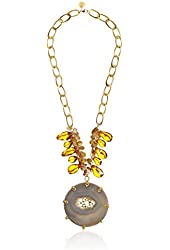 Devon Leigh Large Agate Drusy Citrine Quartz Pendant Necklace, 27""