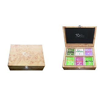 Organic Tea Wood Chest - Touch Organic 60 Tea Bags - Selection of Our 6 Most Popular Certified Organic Teas: Green Tea, White Tea, Oolong Tea, Mango Green Tea, Very Berry White Tea, Mint Green Tea by Touch Organic (Image #1)