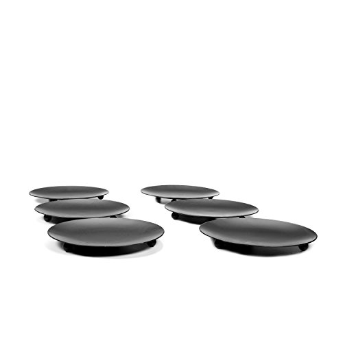 Hosley Set of 6 Black Iron Pillar Candle Holders - 4.75'' Diameter. Ideal for LED Candle Gardens, Spa, and Aromatherapy, Incense Cones, Wedding, Party, Spa, as Pedestal O3 by Hosley (Image #3)