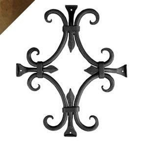 Agave Ironworks Round Bar Fancy Grille, Rustic Brown Finish