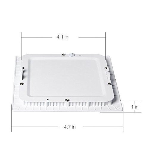 H&G Lighting Dimmable Square LED Panel Light Lamp, Ultra-thin Recessed Ceiling Light, Downlight with 120V LED Isolation Driver (6W, 4000K)
