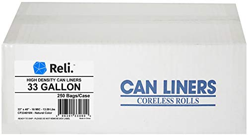 Reli. Wholesale 250 Count Trash Bags (33 Gallon) (Clear) - High Density Rolls (Can Liners, Garbage Bags with 30-35 Gallon Capacity)
