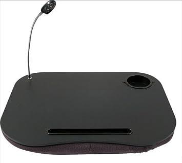 TOOL-GENIUS - - Cojín para ordenador portátil lectura Lap Top bandeja mesa con 5 LED luz y, color blanco y negro: Amazon.es: Informática