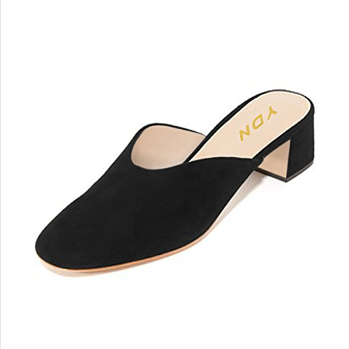 Black Shoes Slip YDN Casual Women Low Mules Pumps Block Toe Heels Round Clogs Slide on wXOqxX6nCr