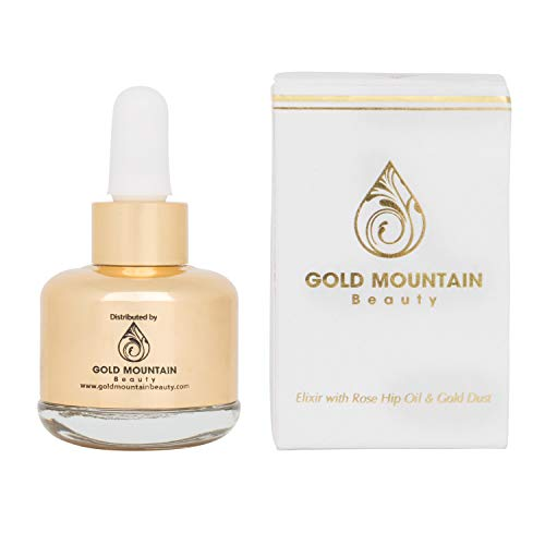 31WZHhSdJkL - Anti-Aging Face Serum - Nourishing Elixir Beauty Facial Oil Treatment with Rosehip Oil and 24K Gold Dust for Face, Hair and Body, Rose Hip Seed Oil Softens and Helps Reduce Fine Lines and Wrinkles