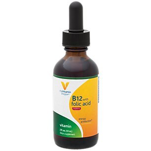 Liquid Vitamin B12 with Folic Acid Raspberry Flavor, Supports Energy Production, Excellent Source of Folic Acid, One Daily Serving (2 Fl Oz.) by The Vitamin Shoppe