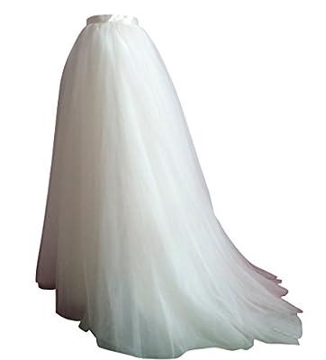 flowerry Women Short Train Tutu Tulle Skirt Wedding Train Bridesmaid Maxi Skirt