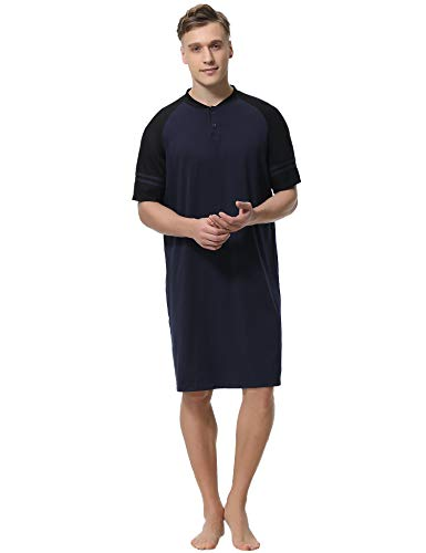 Aibrou Mens Nightshirt Cotton Short Sleeve Nightwear Comfy Henley Sleepwear ()