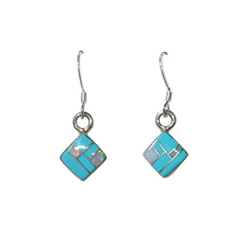 Small Handcrafted Square Shape St. Silver Inlaid Stabilized Turquoise Created Fire Opal Earrings
