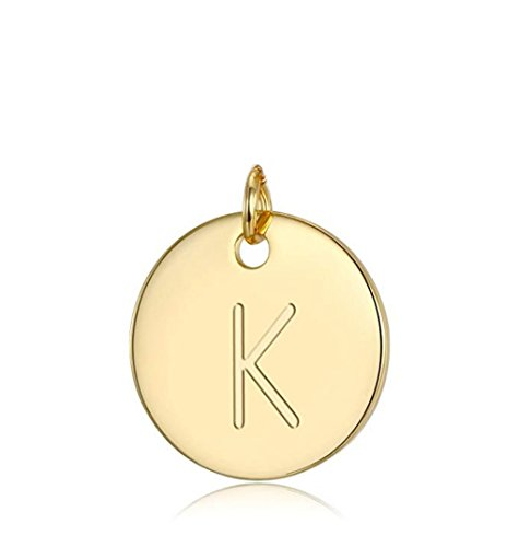 1pc 14k Gold on Sterling Silver Initial Disc Letter K Charm Pendant Personalize Earrings Bracelet Necklace Anklet Jewelry Making SLP1-11
