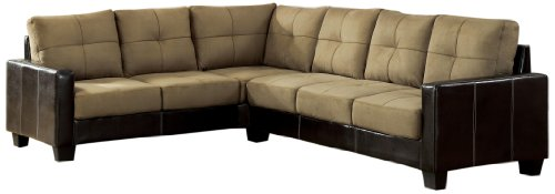 Furniture of America Microfiber Upholstered Sectional Sofa, Taupe