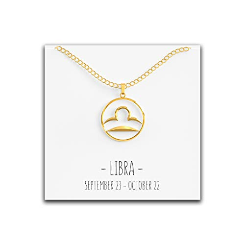 Happy Kisses 12 Constellation Zodiac Necklace - Astrology Horoscope Pendant - Silver or Gold with Message Card - Birthday (Libra Gold)