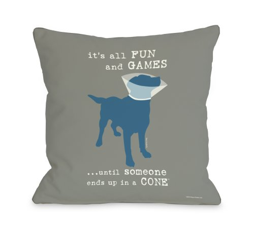One Bella Casa Its All Fun and Games Throw Pillow, 16 by ...