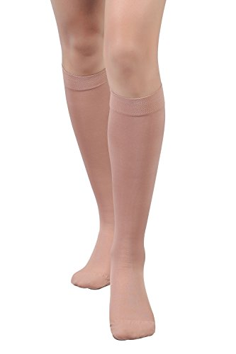 +MD Men and Women Medical Compression Socks Microfiber Opaque Graduated 15-20 mmHg Knee High Support Stockings-Swelling, Varicose Veins, Thrombosis NudeL