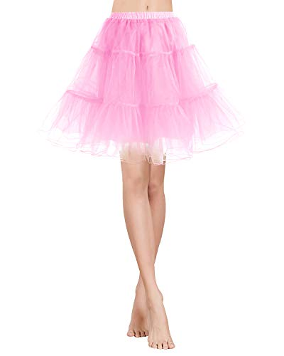 Gardenwed Vintage Women's 1950s Rockabilly Mini Tutu Skirt Retro Petticoat Crinoline Underskirt Pink M ()