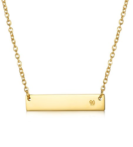 LOYALLOOK Stainless Steel Gold Tone Initial Bar Necklace Alphabet Pendant Necklace 16