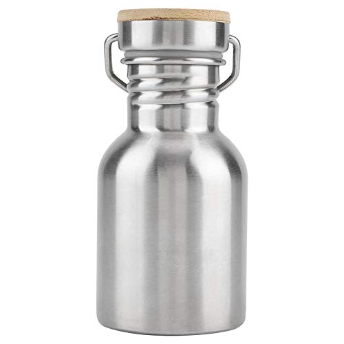 Zerodis Stainless Steel Water Bottle,Outdoor Portable Water Cup Drink Bottle with Bamboo Cap Travel Mug for Cyclists Runners Hikers Picnics Camping (350ML)