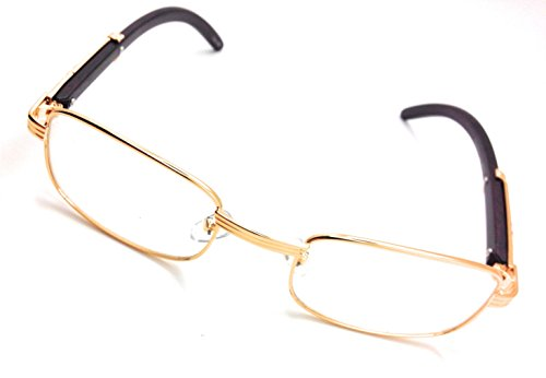 Clear Lens Eyeglasses Unisex Vintage Fashion Oval Frame Glasses Yellow Gold UV400 Protection (Small Rectangular, - Glasses Gold Vintage Oval