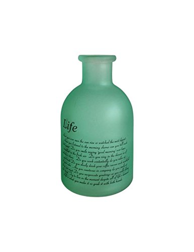 Flowersea Decorative Frosted Glass Bottle Bud Vases for flowers, Modern Design with Life Poem (Laurel, Green) by Flowersea